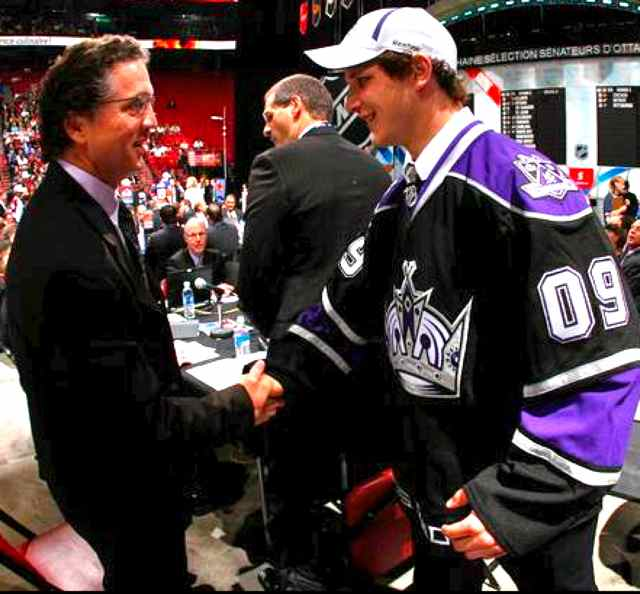 Kyle Clifford (right) and LA Kings President/General Manager Dean Lombardi at the 2009 NHL Entry Draft. Photo courtesy Los Angeles Kings/NHL