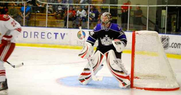 Los Angeles Kings goalie prospect Martin Jones during a rookie tournament contest against prospects of the Phoenix Coyotes on September 9, 2009. Photo courtesy Thomas LaRocca/LAKings.com.