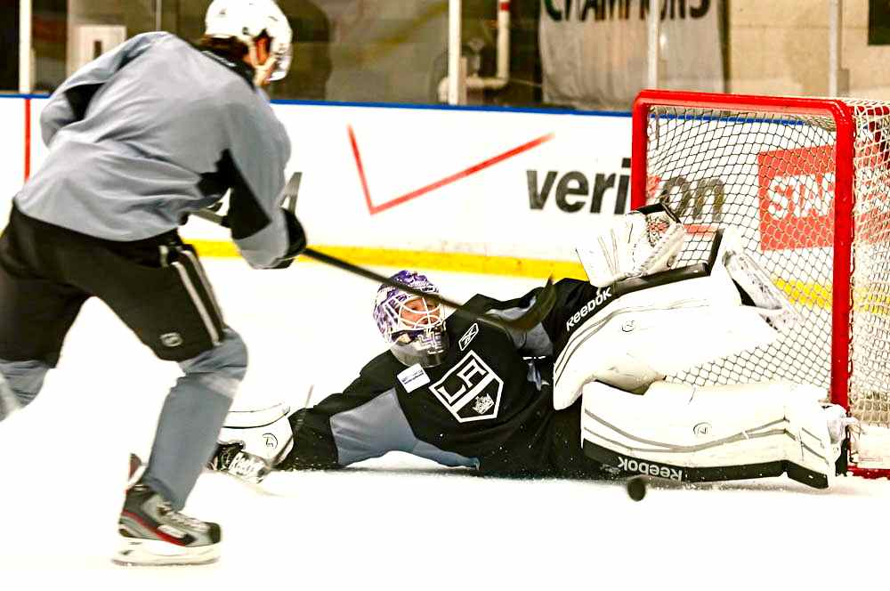 Los Angeles Kings Backup Goalie Jonathan Bernier Sprawls To Make A Save During Recent Practice Session Click View Larger Image