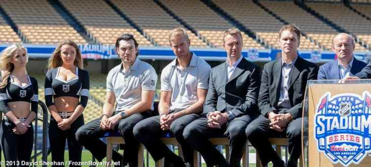 From left: LA Kings Ice Crew members Kelly and Taylor; LA Kings defenseman Drew Doughty; right wing Jeff Carter; Assistant General Manager Rob Blake; President/Business Operations Luc Robitaille; LA Dodgers President/CEO Stan Kasten
