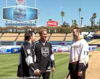 LA Kings Drew Doughty (left) and Jeff Carter (center) chat with Anaheim Ducks (and former Kings) left wing Dustin Penner