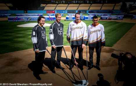 From left: LA Kings D Drew Doughty; RW Jeff Carter; Anaheim Ducks LW Dustin Penner; RW Emerson Etem