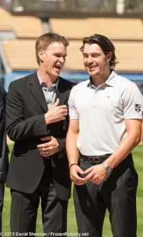 LA Kings Luc Robitaille (left) with Drew Doughty