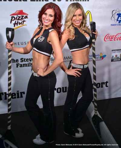 LA Kings Ice Crew members Becky (left) and Ally (right) strike a pose