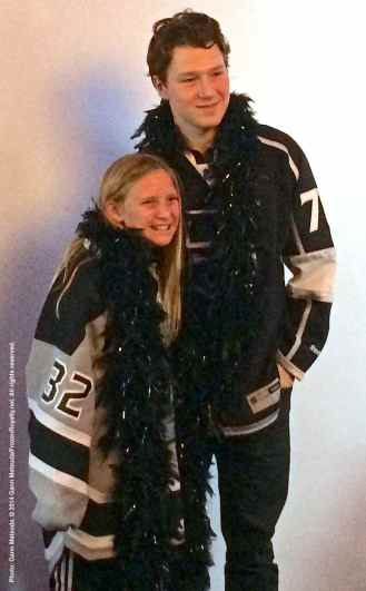 Right wing Tyler Toffoli poses for a photo with a fan