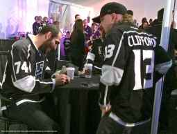 Left wing Dwight King with a fan