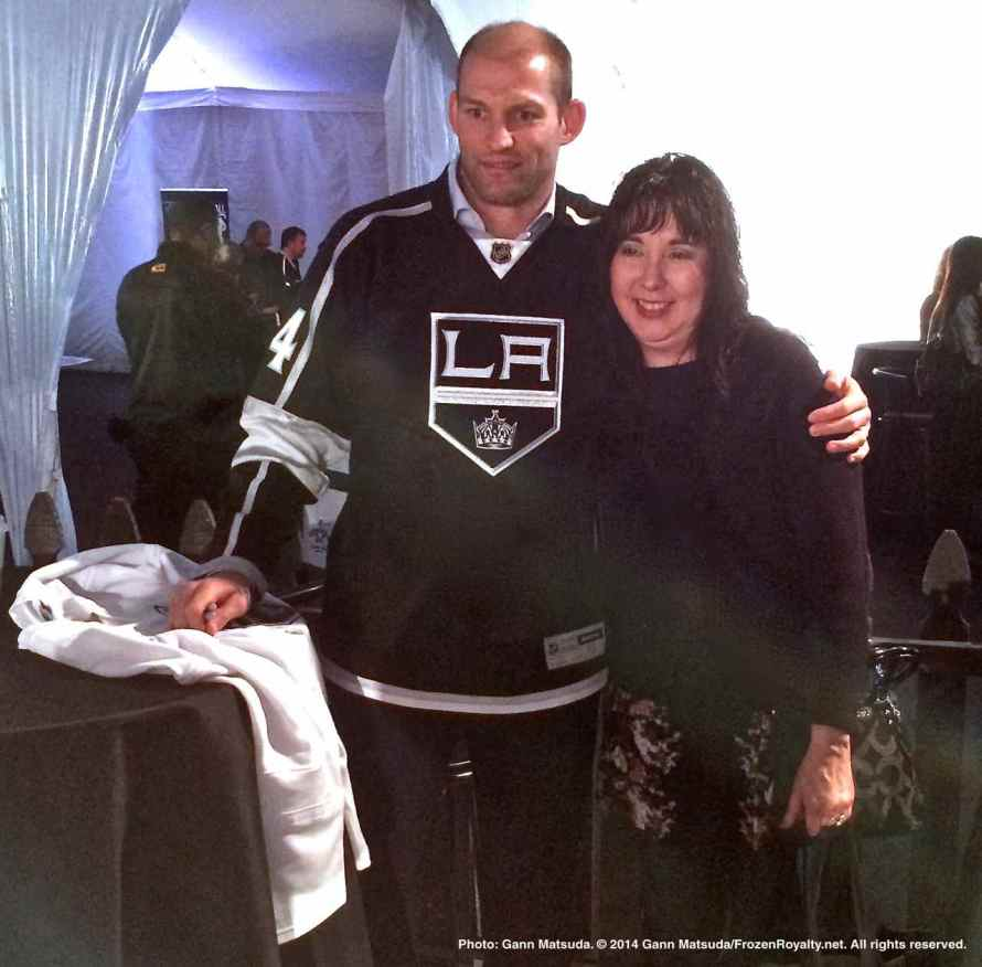 Defenseman Robyn Regher with a fan
