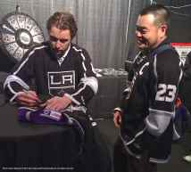 Defenseman Jake Muzzin with a fan