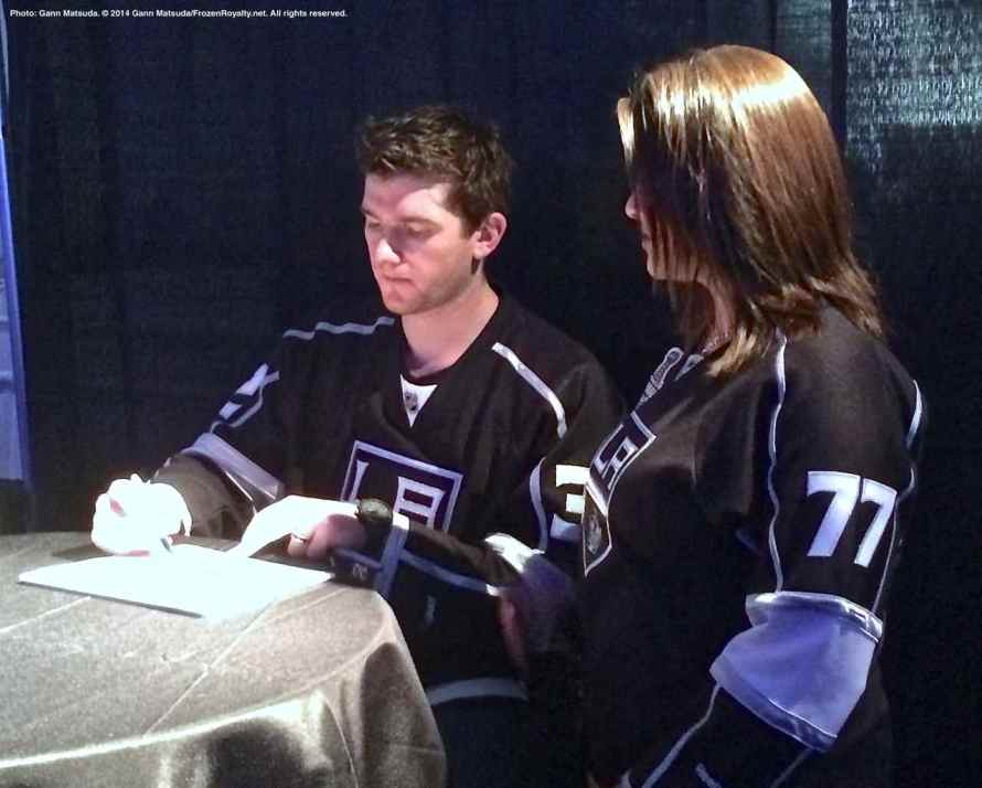 Goaltender Jonathan Quick with a fan