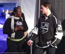 Right wing Matt Frattin with a fan