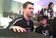 Goalie Martin Jones with a young fan