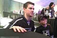 Goalie Martin Jones with a young fan