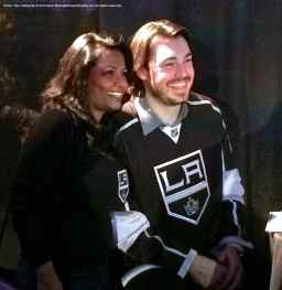 Defenseman Drew Doughty with a fan