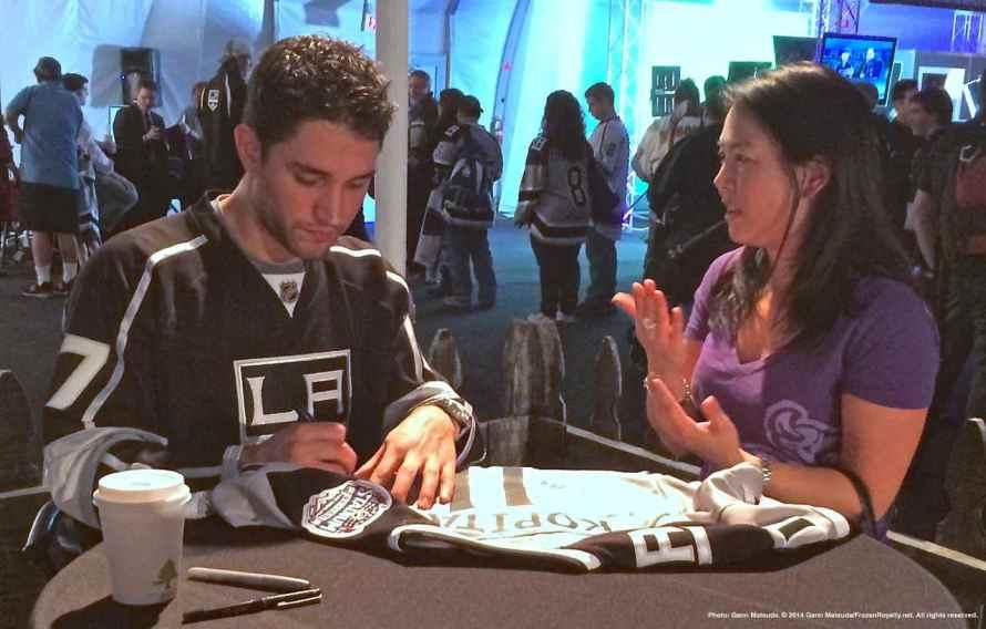Defenseman Alec Martinez with a fan