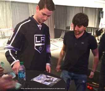 Goalie Martin Jones with a fan