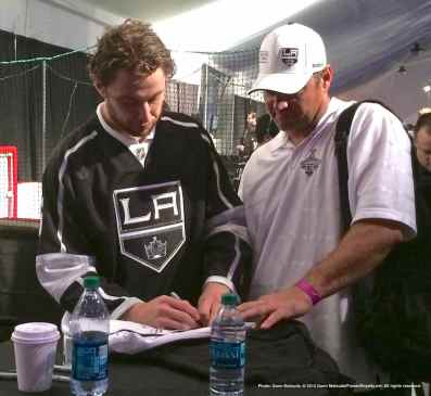 Defenseman Jake Muzzin with a fan
