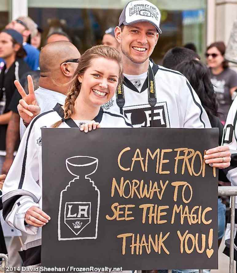 LA Kings fans Ida Holth (left) and Per-Christian Holth (right) traveled to Los Angeles from Oslo, Norway for Game 5 of the 2014 Stanley Cup Final at Staples Center on June 13, 2014, and for the 2014 Stanley Cup Championship parade in Downtown Los Angeles on June 16, 2014.