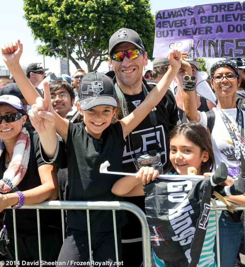 LA Kings fan Augie Loya (center)