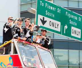 From left: Forwards Tanner Pearson, Tyler Toffoli, goaltender Martin Jones, left wing Dwight King