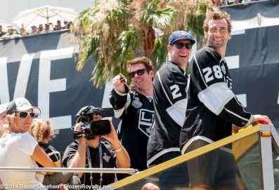 From left: defensemen Willie Mitchell and Matt Greene and center Jarret Stoll