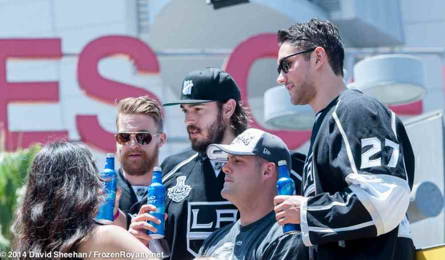 From left: forward Trevor Lewis, defensemen Drew Doughty and Alec Martinez