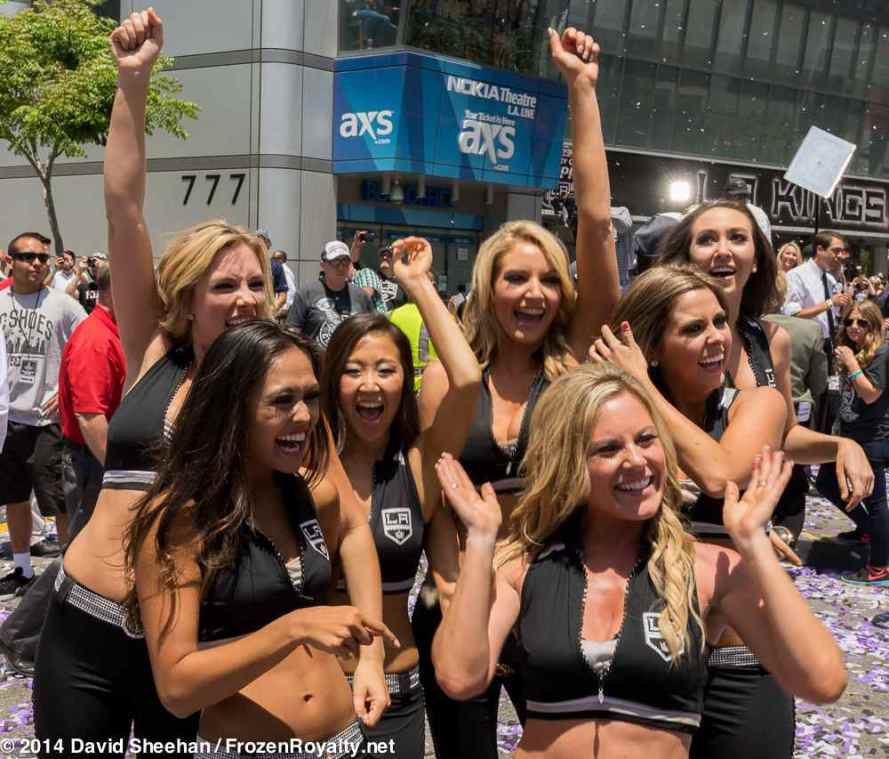 Members of the LA Kings Ice Crew (front row, from left): Sarah and Niki; Back row (from left): Amanda, Eilene, Ashley, Jacquelyn