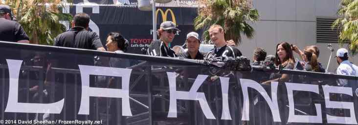 From left: center Anze Kopitar, President/General Manager Dean Lombardi, forward Dustin Brown