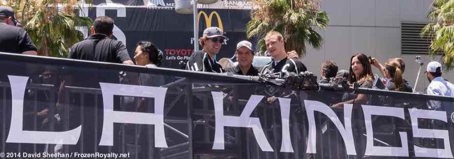 From left: center Anze Kopitar, President/General Manager Dean Lombardi, forward Dustin Brown