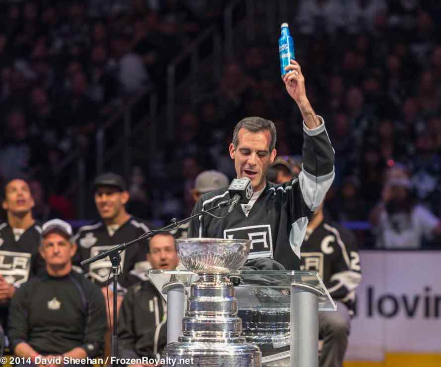 """""""There are a few rules in politics. They say never, ever be pictured with a drink in your hand, and never swear. But this is a big f-ing day."""" — Eric Garcetti, Mayor, City of Los Angeles"""