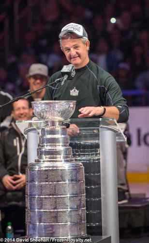 Head coach Darryl Sutter addresses the crowd inside Staples Center during the LA Kings 2014 Stanley Cup Championship rally
