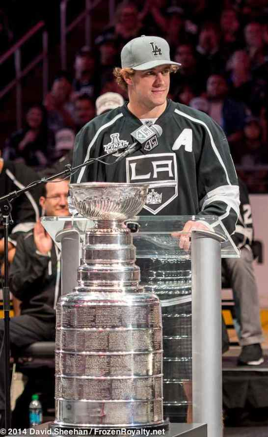 Center Anze Kopitar addresses the crowd inside Staples Center during the LA Kings 2014 Stanley Cup Championship rally