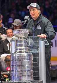 President/General Manager Dean Lombardi addresses the crowd inside Staples Center during the LA Kings 2014 Stanley Cup Championship rally