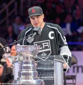 Forward and captain Dustin Brown addresses the crowd inside Staples Center during the LA Kings 2014 Stanley Cup Championship rally