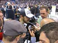 LA Kings captain Dustin Brown speaks to the media