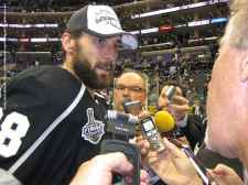 Center Jarret Stoll speaks to the media.