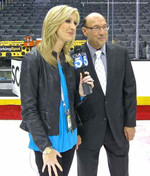 "KTLA-5's Rebecca Hall with the ""Voice of the Kings,"" Bob Miller"