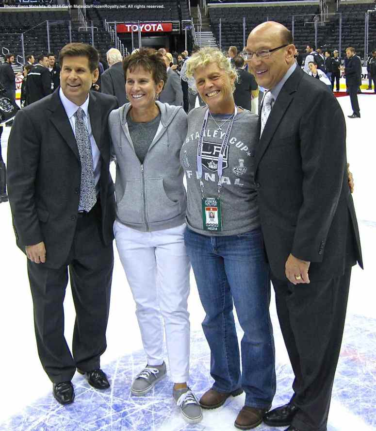"Former LA Kings right wing and current TV color commentator Jim Fox (left) and ""Voice of the Kings"" Bob MIller (right) with Fox Sports West stage manager Donna Moskal and an unknown Fox Sports West staffer"
