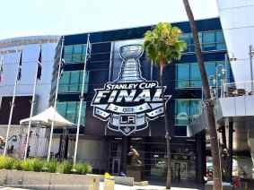 The NHL hung this banner outside of the Star Plaza entrance at Staples Center for the 2014 Stanley Cup Final.