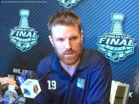 New York Rangers forward Brad Richards, shown here speaking to the media during the 2014 Stanley Cup Final Media Day at Staples Center in Los Angeles, June 3, 2014.