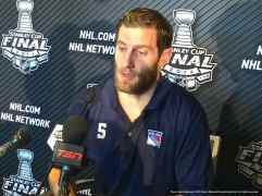 New York Rangers defenseman Dan Girardi, shown here speaking to the media during the 2014 Stanley Cup Final Media Day at Staples Center in Los Angeles, June 3, 2014.