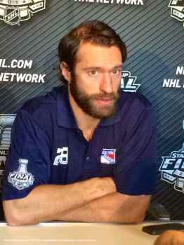 New York Rangers forward Dominic Moore, shown here speaking to the media during the 2014 Stanley Cup Final Media Day at Staples Center in Los Angeles, June 3, 2014.