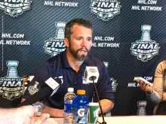 New York Rangers forward Martin St. Louis, shown here speaking to the media during the 2014 Stanley Cup Final Media Day at Staples Center in Los Angeles, June 3, 2014.