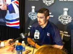 New York Rangers forward Chris Kreider, shown here speaking to the media during the 2014 Stanley Cup Final Media Day at Staples Center in Los Angeles, June 3, 2014.