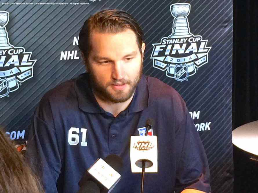 New York Rangers left wing Rick Nash, shown here speaking to the media during the 2014 Stanley Cup Final Media Day at Staples Center in Los Angeles, June 3, 2014.