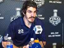 New York Rangers center Bryan Boyle, shown here speaking to the media during the 2014 Stanley Cup Final Media Day at Staples Center in Los Angeles, June 3, 2014.