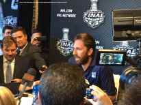 New York Rangers goaltender Henrik Lundqvist, shown here speaking to the media during the 2014 Stanley Cup Final Media Day at Staples Center in Los Angeles, June 3, 2014.