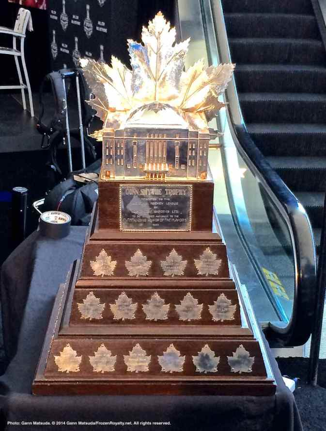 The Conn Smythe Trophy, awarded to the Most Valuable Player in the Stanley Cup Playoffs, was on display during the 2014 Stanley Cup Final Media Day at Staples Center in Los Angeles, June 3, 2014.