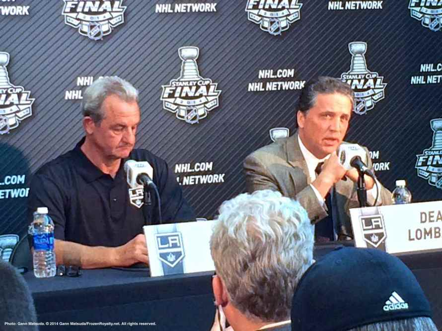 Los Angeles Kings head coach Darryl Sutter (left) and President/General Manager Dean Lombardi (right), shown here speaking to the media during the 2014 Stanley Cup Final Media Day at Staples Center in Los Angeles, June 3, 2014.