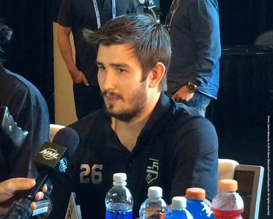 Los Angeles Kings defenseman Slava Voynov, shown here speaking to the media during the 2014 Stanley Cup Final Media Day at Staples Center in Los Angeles, June 3, 2014.