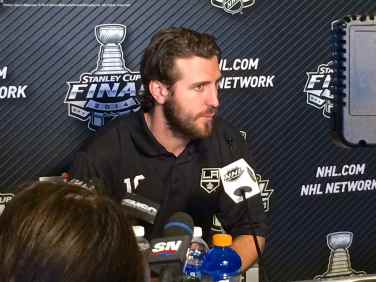Los Angeles Kings center Mike Richards, shown here speaking to the media during the 2014 Stanley Cup Final Media Day at Staples Center in Los Angeles, June 3, 2014.